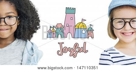 Children Enjoy Castle Joyful Concept
