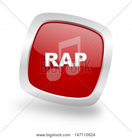rap music square glossy red chrome silver metallic web icon