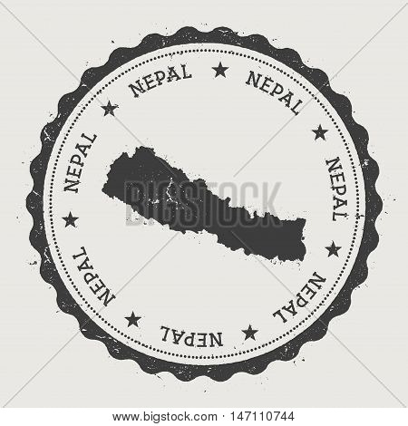 Nepal Hipster Round Rubber Stamp With Country Map. Vintage Passport Stamp With Circular Text And Sta
