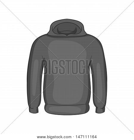 Mens winter sweatshirt icon in black monochrome style isolated on white background. Clothing symbol vector illustration