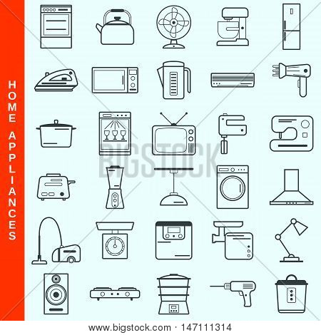 Thin line home appliances vector icons set
