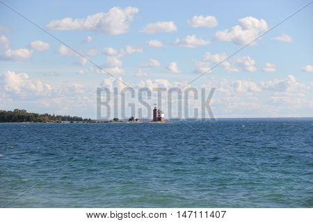 Old Round Island Light on Round Island next to Mackinac Island, Michigan