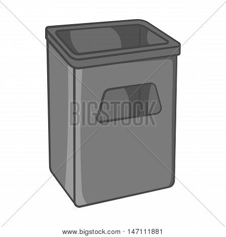 Street dustbin icon in black monochrome style isolated on white background. Garbage symbol vector illustration