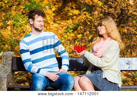 Woman Confess Love To Man On Bench In Park.