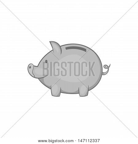 Piggy icon in black monochrome style isolated on white background. Money symbol vector illustration