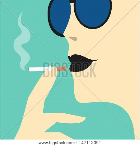 Young woman in sunglasses with black lipstick smokes cigarette Close-up portrait
