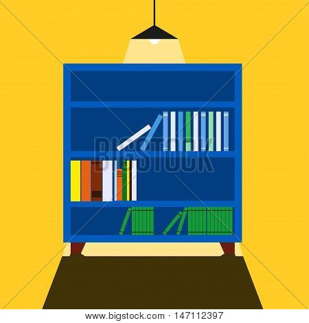 Bookcase Vector illustration Wide blue bookcase casts a shadow in front of him