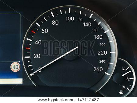 Speedometer of a car illuminated