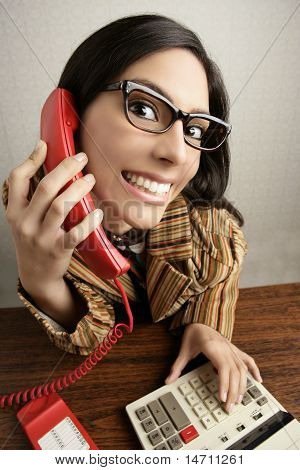 Retro Secretary Wide Angle Humor Telephone Woman