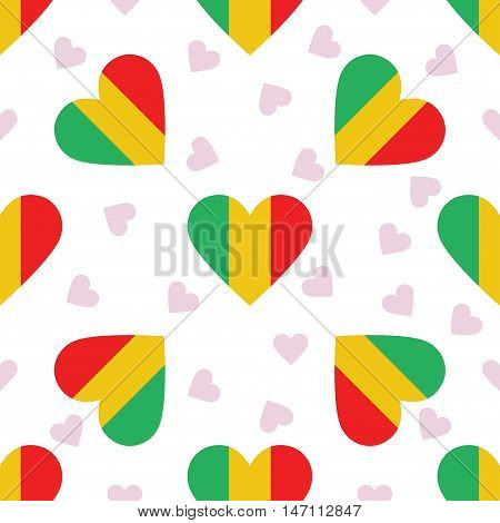 Mali Independence Day Seamless Pattern. Patriotic Background With Country National Flag In The Shape