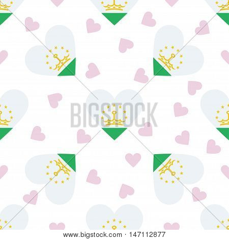 Tajikistan Independence Day Seamless Pattern. Patriotic Background With Country National Flag In The