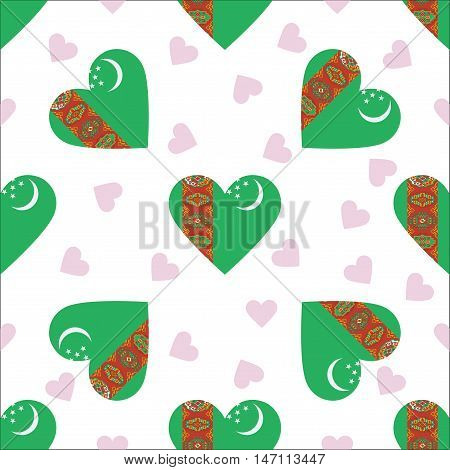 Turkmenistan Independence Day Seamless Pattern. Patriotic Background With Country National Flag In T