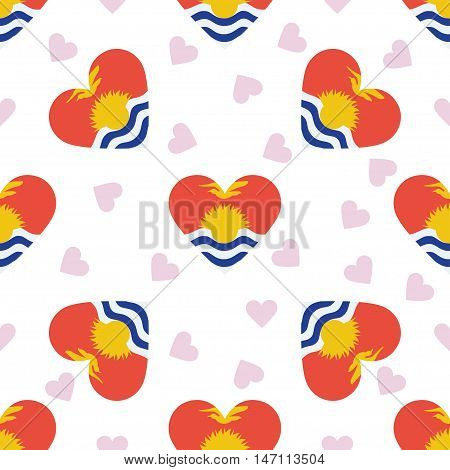 Kiribati Independence Day Seamless Pattern. Patriotic Background With Country National Flag In The S