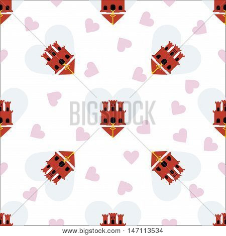 Gibraltar Independence Day Seamless Pattern. Patriotic Background With Country National Flag In The