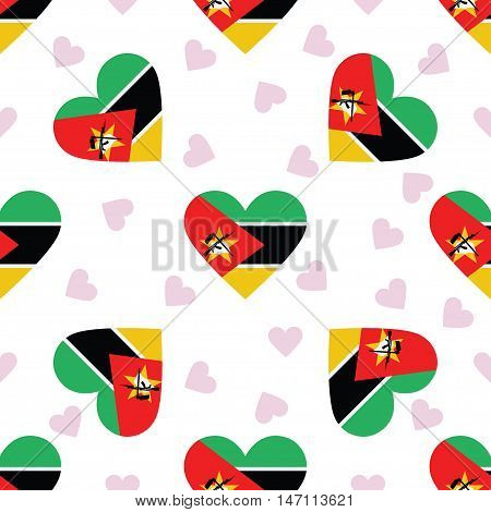Mozambique Independence Day Seamless Pattern. Patriotic Background With Country National Flag In The