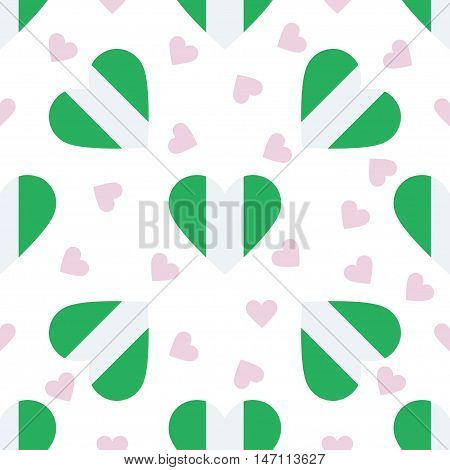 Nigeria Independence Day Seamless Pattern. Patriotic Background With Country National Flag In The Sh