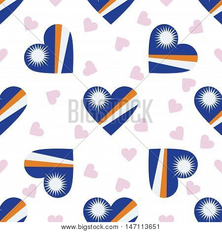 Marshall Islands Independence Day Seamless Pattern. Patriotic Background With Country National Flag