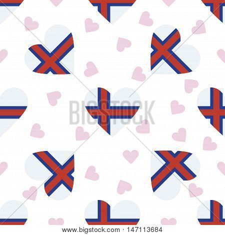 Faroe Islands Independence Day Seamless Pattern. Patriotic Background With Country National Flag In