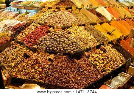 Istanbul, Turkey - November 7, 2015. Stall with various types of tea and pepper at the Spice Bazaar in Istanbul.