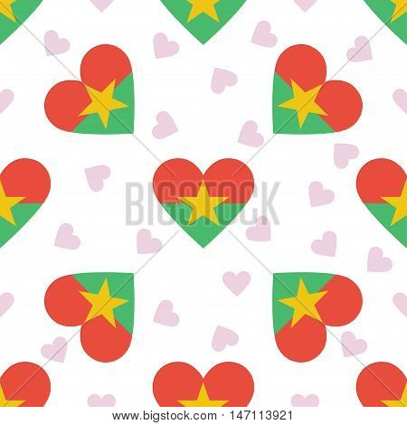 Burkina Faso Independence Day Seamless Pattern. Patriotic Background With Country National Flag In T