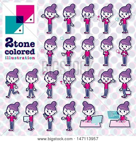 Set of various poses of Bun hair mom Pants style 2tone