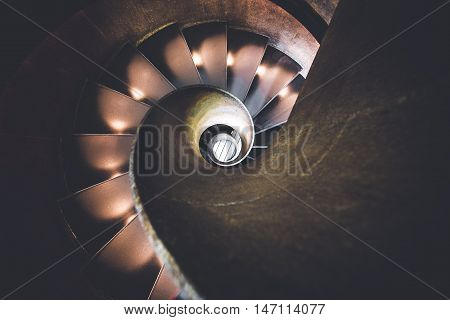 Spiral stairs as viewed from above, unique perspective.