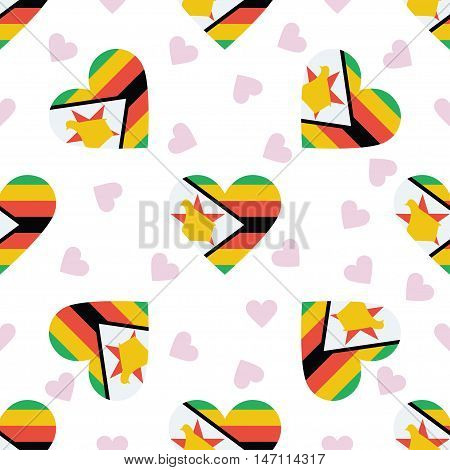 Zimbabwe Independence Day Seamless Pattern. Patriotic Background With Country National Flag In The S