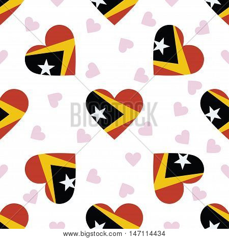 Timor-leste Independence Day Seamless Pattern. Patriotic Background With Country National Flag In Th