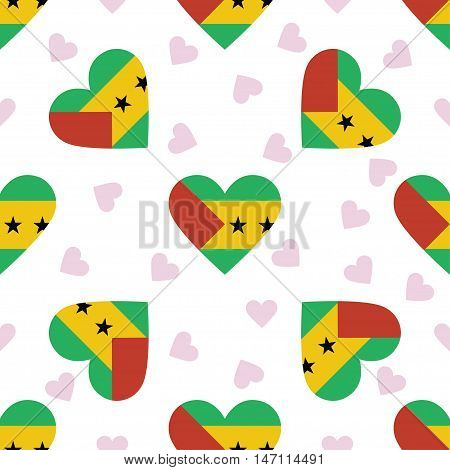 Sao Tome And Principe Independence Day Seamless Pattern. Patriotic Background With Country National