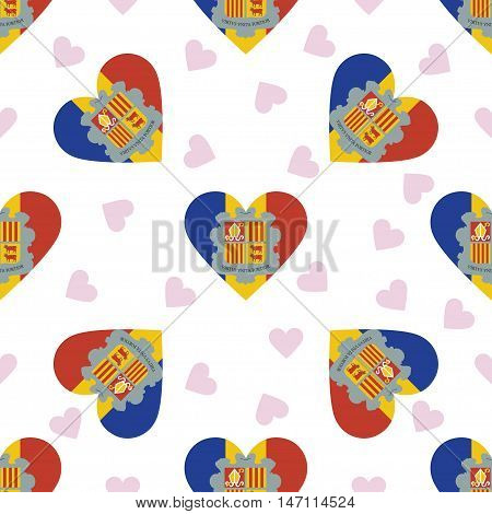 Andorra Independence Day Seamless Pattern. Patriotic Background With Country National Flag In The Sh