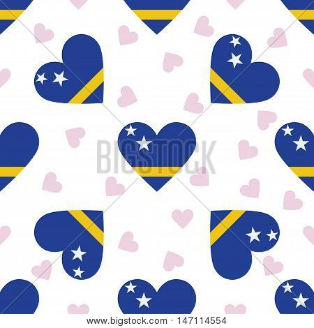 Curacao Independence Day Seamless Pattern. Patriotic Background With Country National Flag In The Sh