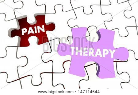 Pain Therapy Words Puzzle Pieces Treatment 3d Illustration