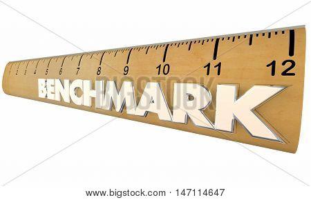 Benchmark Measure Compare Results Ruler 3d Illustration