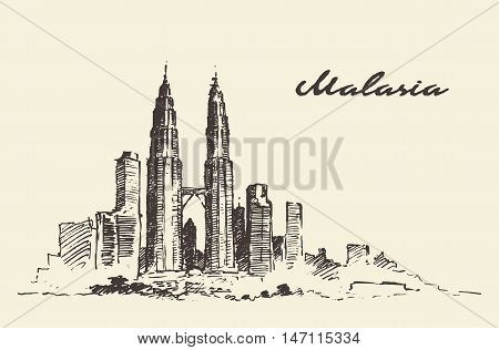 Kuala Lumpur skyline Malaysia vintage engraved illustration hand drawn, sketch