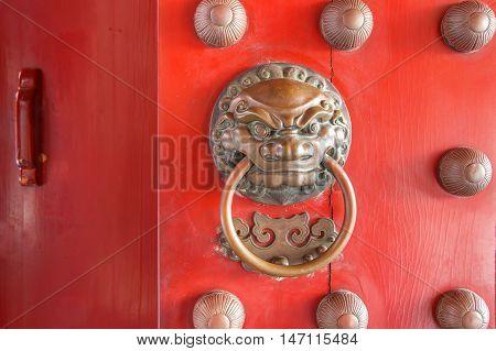 China Town Red Door Guardian Brass Handle