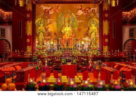 Singapore - JUNE 26 2015: Interior of the Buddha Tooth Relic Temple Singapore.