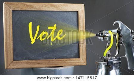Vote for your rights with spray gun.