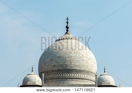 Top Of Taj Mahal, One Of Seven Wonders In Agra City, India - Travel And Vacation Concept