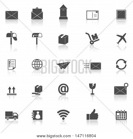 Post icons with reflect on white background, stock vector