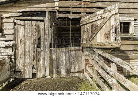 Old wool shed with old rusty door hinges and nails with weathered textured boards