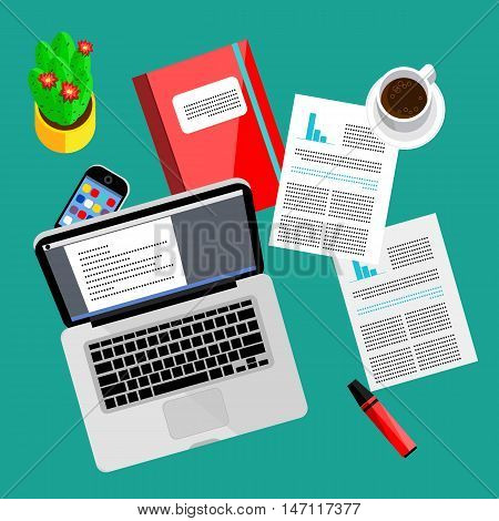 Modern business office and workspace background, vector illustration. Top view of office desk with laptop, smartphone, coffee cup, paperwork and other objects on table. Workplace background