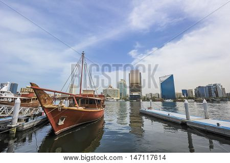 Traditional Abra Ferries At The Creek In Dubai