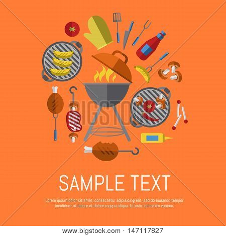 Vector illustration BBQ poster. Grill tools, meat, vegetables and other design elements around barbecue grill with fire on orange background. Food banner. BBQ party invitation in flat style. BBQ grill icons. Bbq kettle icon.