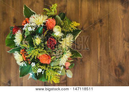 bouquet of apple Chrysanthemum rowan stonecrop anisetree phlox