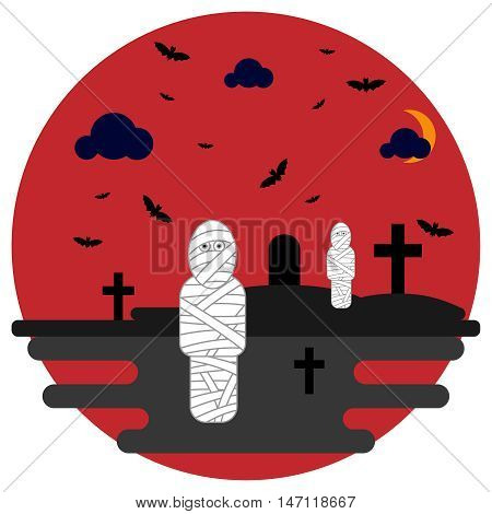 Mummies in the background cemetery with crosses and bats. Vector illustration for the holiday Halloween