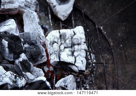 hot fire black wood charcoal in big round bbq