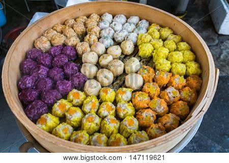 dim sum, colorful Chinese steamed dumplings in Chinatown