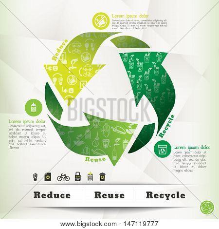 Recycle symbol with icons, green environment Conceptual Illustration