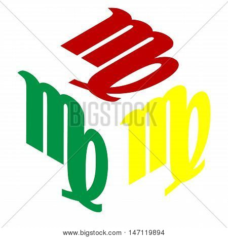 Virgo Sign Illustration. Isometric Style Of Red, Green And Yellow Icon.