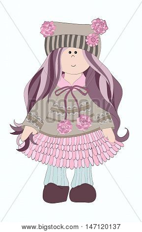 Little girl in hat with pom-poms and dress. Beautiful doll. Drawing hand girl. Animated girl. Vector